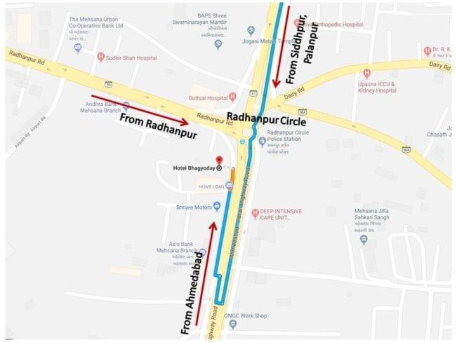 Hotel Bhagyoday mehsana location map